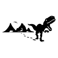 Items similar to Dinosaur Removable Wall Decal on Etsy Cartoon Silhouette, Dinosaur Silhouette, Silhouette Design, Art Clipart, Vector Art, Plotter Silhouette Cameo, Silhouette Cameo Projects, Removable Wall Decals, Street Art