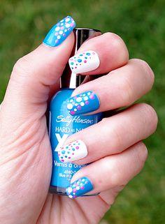 Dippin Dots Nails  Blue Polka Dot Nails  Summer Nails  By Florina :D