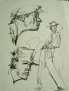2 Face Study pen and ink a copy of rare by dorothymessenger, $50.00