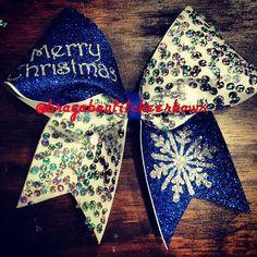 blue christmas cheer bow snowflake on Etsy, $13.50