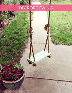 Make a simple wooden tree swing - 10 DIY Adorable Tree Swings