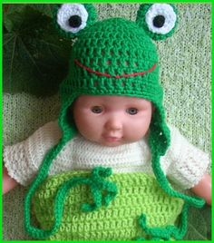Little frog - crochet. Czapka pilotka żabka szydełkowa Sesja foto