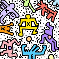'Haring' Poster by MworldTee Bedroom Wall Collage, Photo Wall Collage, Picture Wall, Collage Art, Poster Wall, Poster Prints, Art Room Posters, Keith Haring Art, Trippy Wallpaper