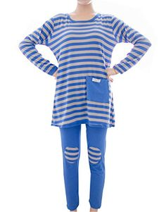 fad0a1dc22 MagicGo Big Girl s Patch Striped Top And Bottom Sleepwear... http