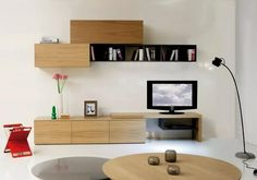 Tv Cabinets, Cozy House, Bookshelves, Floating Shelves, Flat Screen, Wall, Tvs, Home Decor, Natural