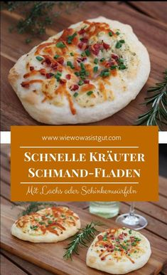 This delicious sour cream flatbread with garden herbs and salmon or ham . - These delicious sour cream pancakes with garden herbs and salmon or ham taste just so delicious. Sour Cream Pancakes, Prosciutto, Salmon Recipes, Foodie Travel, Scones, Finger Foods, Food Inspiration, Foodies, Good Food