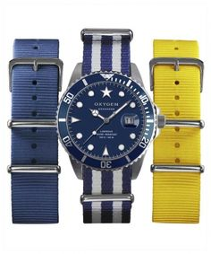 Coffret montre EXCHANGE Diver 40mm avec bracelets interchangeables par Oxygen Watch bleu 149.00€