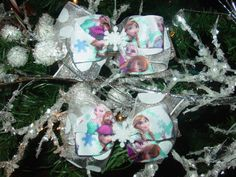 Frozen triple bow Hair Bow Set by SugarAndSpiceSewNice on Etsy