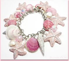Blush Pink Starfish & Florida Shell Bracelet, polymer clay jewelry