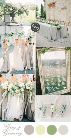 Grey and greenery wedding palette