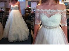 off-the shoulder lace sleeves added to wedding dress