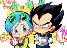 Bulma and Vegeta Goku Chibi, Vegito Y Gogeta, Super Anime, Dragon Z, Animes Wallpapers, Manga Art, Cool Drawings, Kawaii Anime, Cute Art