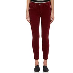 L'Agence Women's Margot Velvet Skinny Jeans ($225) ❤ liked on Polyvore featuring jeans, red skinny jeans, high-waisted jeans, velvet skinny jeans, high waisted skinny jeans and slim fit jeans