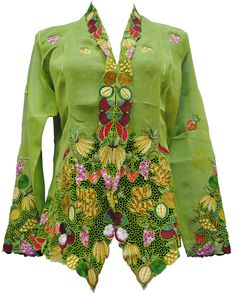 Nyonya Kebaya Blouse – Malaysian Fruits  Malaysia: Traditional blouse worn by women of the Peranakan (Malay-Chinese) community on Casa Rubia Japanese cotton with lace and and embroideries, on the theme of fruits from Malaysia. The International 2012 Panel of Experts praised the dynamic colors, innovative pattern, and fine finish of this traditional blouse, which is a clear expression of the Nyonya cultural identity.