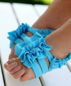 oh my gosh baby sandals that make sense for babies who can't walk but don't need socks.   Take a look at this Aqua Poptart Barefoot Sandal by ToeBlooms on #zulily today!