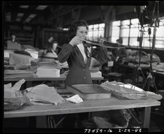 Woman worker at Willow Run plant, 1943.