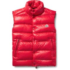 Moncler Tib Quilted Shell Down Gilet ❤ liked on Polyvore featuring men's fashion, men's clothing, men's outerwear, men's vests, mens quilted vest, mens lightweight down vest, mens red vest, mens lightweight vest and mens down vest