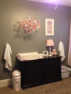Brown furniture, pink and dark gray theme