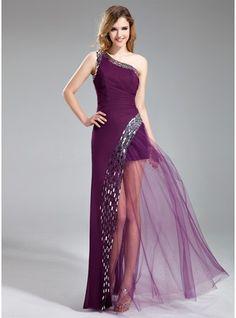 Vestidos princesa/ Formato A Um ombro Longos De chiffon Vestido de baile com Lantejoulas