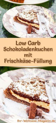 Rezept für einen Low Carb Schokoladen-Kuchen mit Frischkäse-Füllung: Der kohlenhydratarme, kalorienreduzierte Kuchen wird ohne Zucker und Getreidemehl zubereitet ...