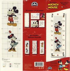 Mickey and Minnie mouse bookmark Cross Stitch For Kids, Just Cross Stitch, Cross Stitch Bookmarks, Cross Stitch Books, Cross Stitch Baby, Cross Stitch Charts, Cross Stitch Designs, Cross Stitch Patterns, Mickey Mouse Crafts