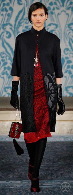 Look 22, Cora: Beaded satin appliqué wool coat, Beaded laser-cut cloqué dress