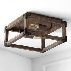 Our square open ceiling light is ideal for your modern farmhouse, rustic kitchen or industrial interior design. Features two Edison-style LED bulbs inside a barnwood-finished frame, accented with oil rubbed bronze. This rustic light fixture is perfect for the living room, kitchen, entry, hallway or bedroom. Rustic Flush Mount Lighting, Led Flush Mount, Rustic Lighting, Home Lighting, Lighting Ideas, Led Recessed Ceiling Lights, Open Ceiling, Rustic Kitchen, Rustic Farmhouse