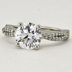 Platinum Twisted Vine Diamond Ring   Set with a 1.63 Carat, Round, Super Ideal Cut, E Color, VS1 Clarity Diamond. #BrilliantEarth