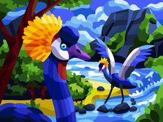 Bird Illustration, Landscape Illustration, Digital Illustration, Crane Bird, Composition Design, Painting Gallery, Wildlife Art, Drawing For Kids, Furry Art
