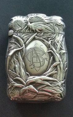 Antique Sterling Silver Tropical Plants & Palms Match Safe Vesta Case Box Holder