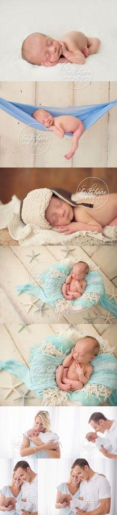 newborn baby boy and family with nautical starfish set