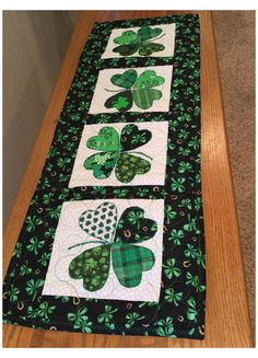 Patchwork Table Runner, Table Runner And Placemats, Quilted Table Runners, Table Runner Tutorial, Table Runner Pattern, Table Topper Patterns, Table Toppers, Saint Patrick's Day, St Patrick's Day Decorations