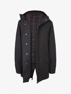Fred Perry Tartan Lined Waxed Cotton Fishtail Parka
