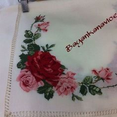 This Pin was discovered by Özn Embroidery Stitches, Hand Embroidery, Stitch Kit, Cross Stitch, Canvas, Instagram, Ideas, Embroidered Towels, Cross Stitch Embroidery