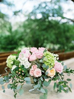 Magenta, coral, white, and greenery wedding flowers: http://www.stylemepretty.com/texas-weddings/dripping-springs/2016/08/16/romantic-texas-wedding-under-the-oaks/ Photography: Loft - http://www.loftphotography.com/