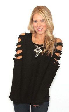 Black cut it out #sweater by Riffraff