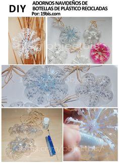 Cómo hacer adornos navideños con botellas plásticas.19bis.com