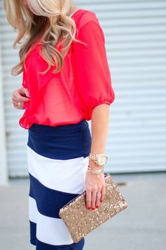 Striped Skirt + Red Blouse