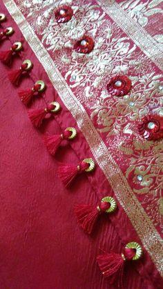 Beautiful Saree Kuchu Designs With Beads Guide Saree Tassels Designs, Saree Kuchu Designs, Rangoli Designs, Pakistani Wedding Outfits, Simple Sarees, Elegant Saree, Beautiful Saree, White Beads, Indian Designer Wear