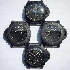 Black Tuesday from @wwkoo. PAM580 Ceramic Chrono Flyback. PAM508 Ceramic Submersible PAM317 Ceramic GMT Chrono PAM607 Ceramic Submersible Destro. #PaneraiCentral #Panerai