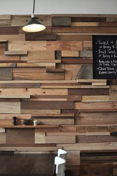 wood wall with shelving and chalkboard paint @ Slowpoke Espresso (Melbourne) by Sasufi Interior Design