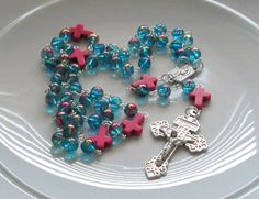 Catholic Rosary Beads, Aqua Glass 8mm, Dyed Pink Howlite Crosses,Our Lady of Lourdes, First Communion Gift, Confirmation, Graduation, Prom by AwfyBrawJewellery on Etsy