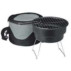 The Portable BBQ grill has a top grilling area, an insulated cooler bag, and a removable and adjustable shoulder strap. Portable Bbq Grill, Barbecue Grill, Grilling, Gadget Gifts, Charcoal Grill, Sales And Marketing, Black And Grey, Case Ih, Outdoor Decor