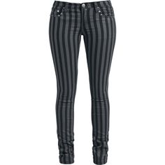"- slim fit - 5 pocket style - studs It's getting punk with the black/grey ""Stripes"" girls shorts by Rock Rebel by EMP. These trousers are nice and figure-hugging thanks to the slim fit. The classic stripe look is rounded off by the studs. Put them on and let Punk rock live!"