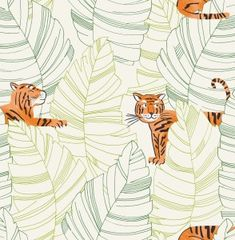 Seabrook Designs Kids Green and Orange Hiding Tigers Wallpaper - The Home Depot