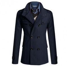 Escudo del estilo británico de la manera de los hombres del color sólido de lana doble de pecho chaqueta ocasional larga