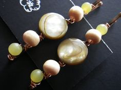 Nature Pins Shell Wood Stone Olive Green Yellow by CassieVision