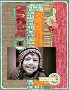 Happy Layout by Julie Bonner using Jillibean's Sweet & Sour Soup papers, Sweet & Sour Soup coordinating cardstock stickers, Sweet & Sour Soup soup labels, cool beans, alphabeans, and corrugated alphas (via the Jillibean Soup blog).