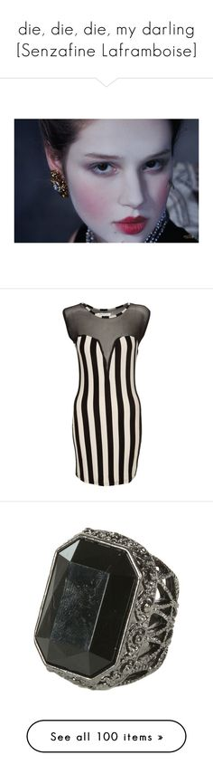 """""""die, die, die, my darling [Senzafine Laframboise]"""" by man-bites-zombie ❤ liked on Polyvore featuring CircusWorld, dresses, sexy black cocktail dresses, striped dress, party dresses, black body con dress, black party dresses, jewelry, rings and accessories"""