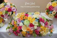 ミックスカラー装花 レインボーカラー